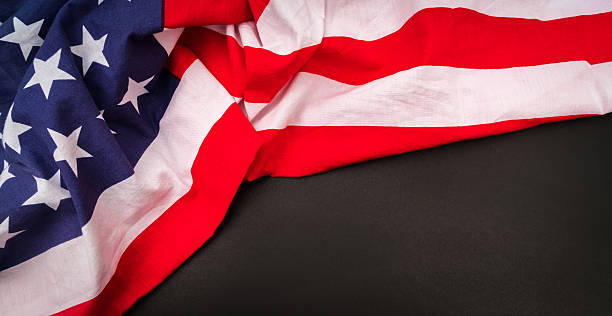 American flag on black background stock photo