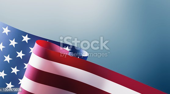 537898300 istock photo American Flag on Blue Background 1204470078