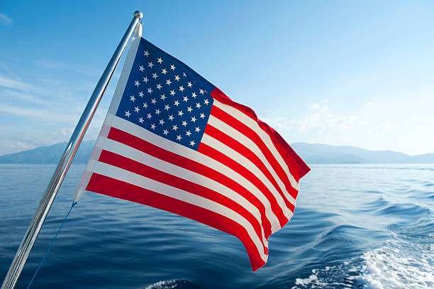 American flag on boat stock photo