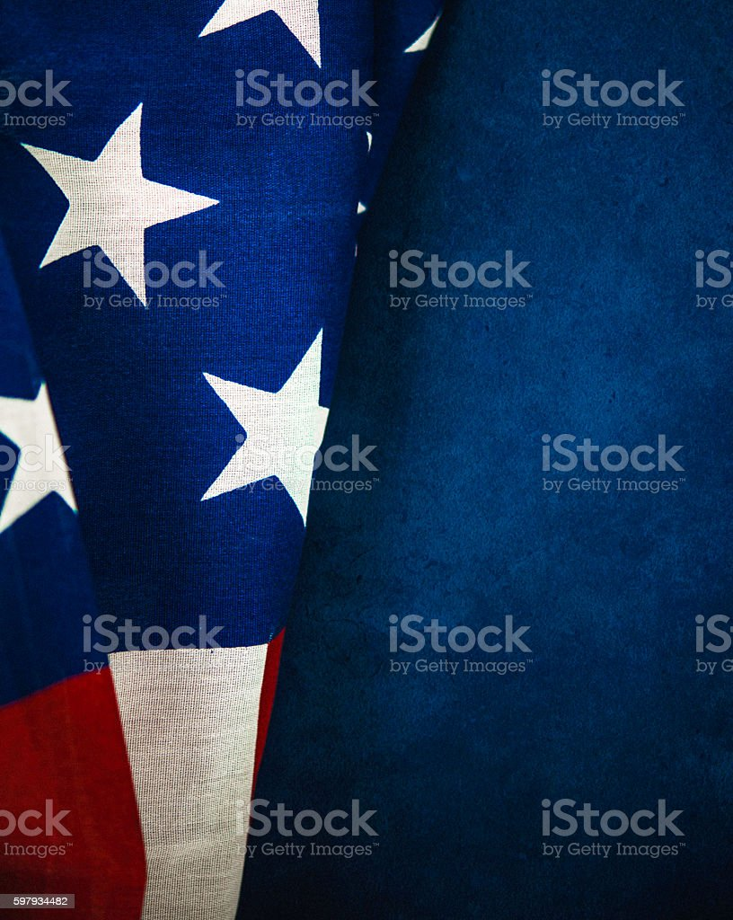 American flag on chalkboard for US holidays stock photo