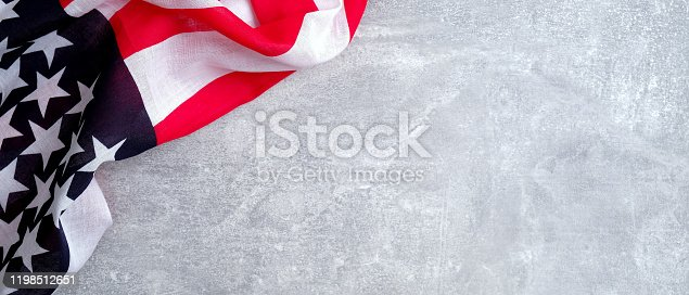 971061452 istock photo American flag on concrete stone background with copy space. Banner template for USA Memorial day, Presidents day, Veterans day, Labor day, or 4th of July celebration. 1198512651