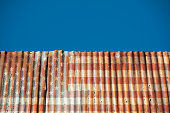 American flag on corrugated rusty wall