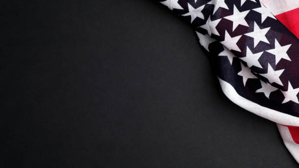 American flag on dark background. Banner mockup for US Independence Day, Memorial Day, American Labor day.