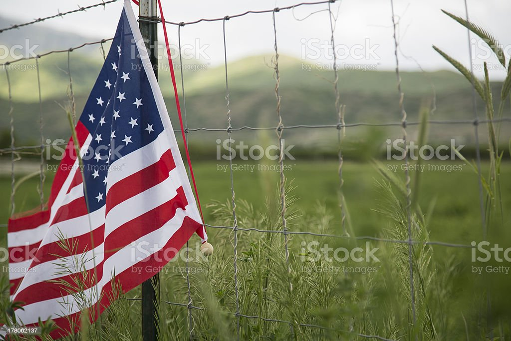 American Flag on fence stock photo