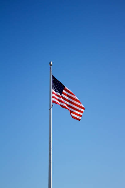 American flag on flagpole with blue sky background This image features an American flag displayed on a tall flagpole in breezy wind with a solid blue sky background on a sunny day. flagpole stock pictures, royalty-free photos & images