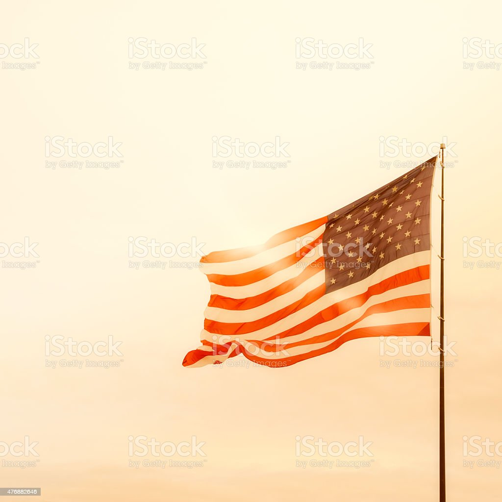 American Flag on Fourth of July stock photo
