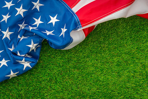 American flag on green grass stock photo