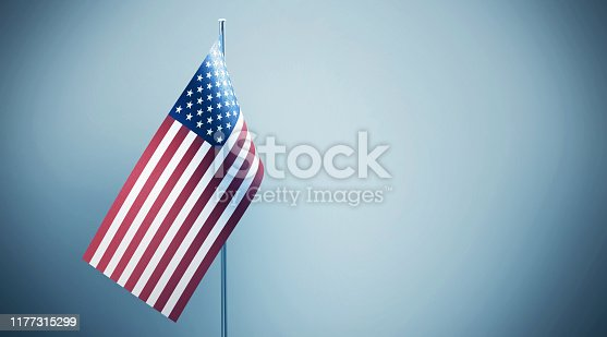 American flag on grey background. Great use for presidential elections and fourth of July related concepts.