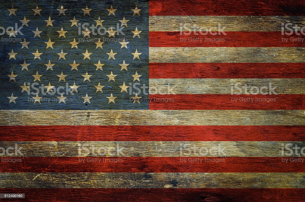 American flag on grunge wooden background stock photo