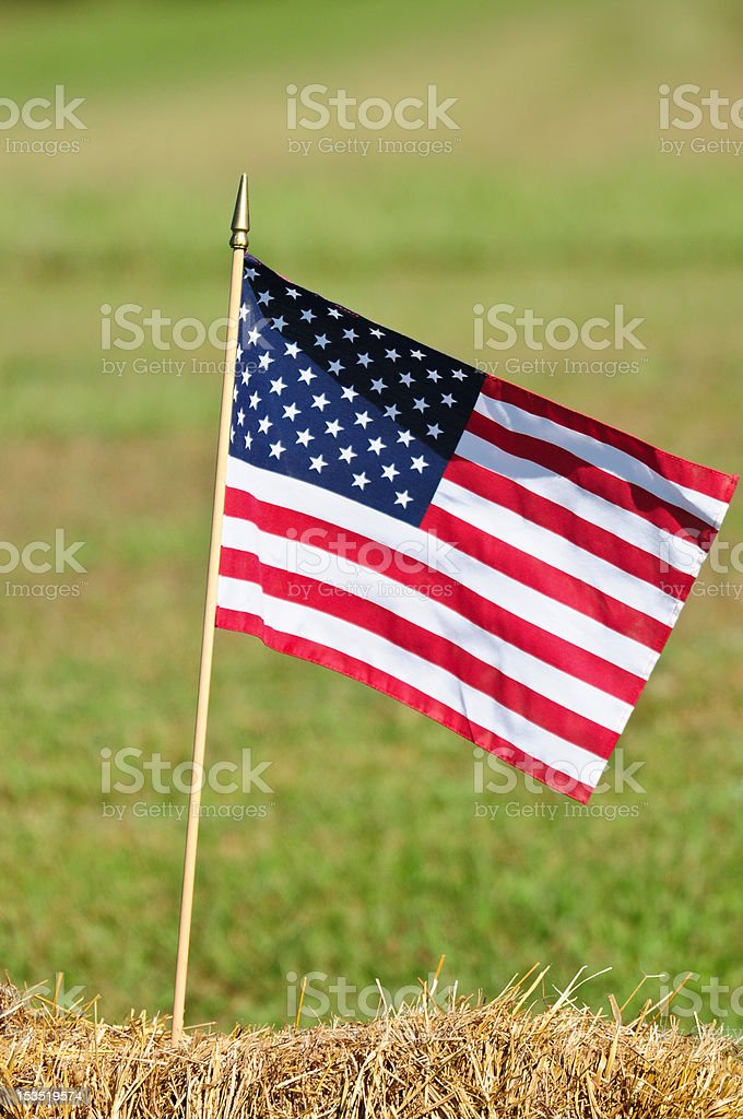 American Flag on Hay Bail royalty-free stock photo