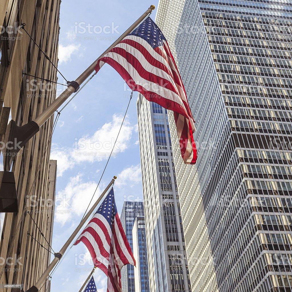 american flag on manhattan royalty-free stock photo