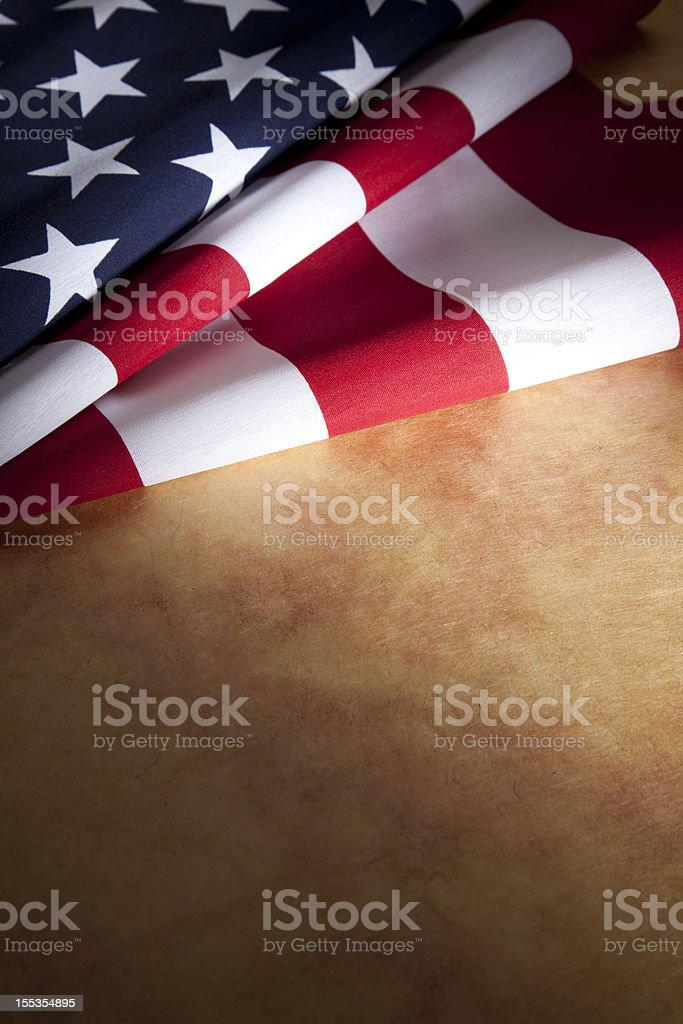 USA American Flag on Parchment Paper Copyspace stock photo