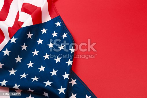 istock American flag on red background  top view - Image 1157914237