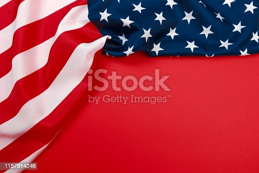 istock American flag on red background  top view - Image 1157914246