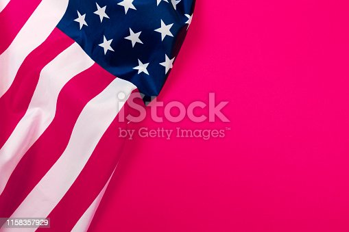 istock American flag on red background  top view - Image 1158357929