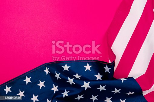 istock American flag on red background  top view - Image 1159540310