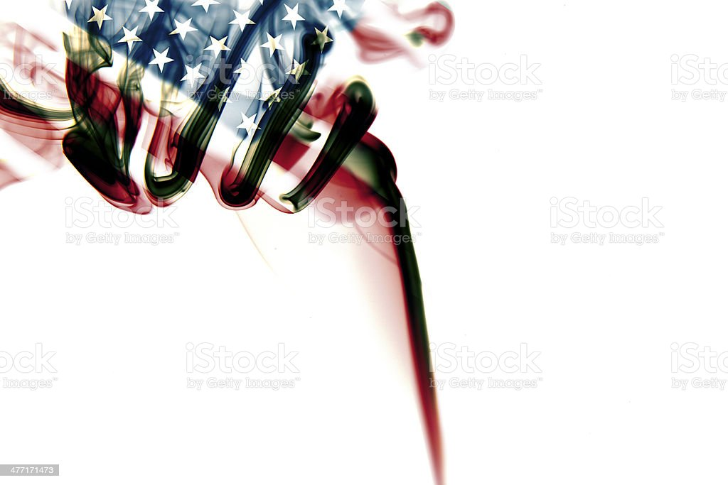 American Flag on Smoke stock photo