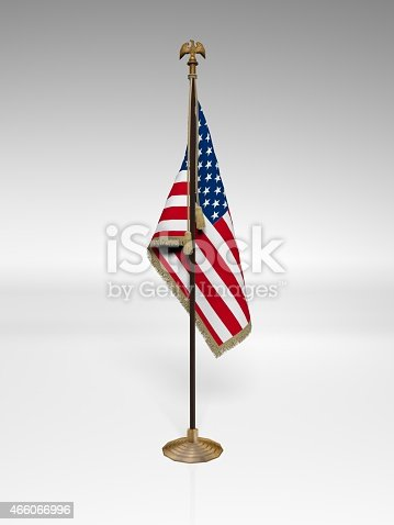 American Flag on stand, isolated on white background