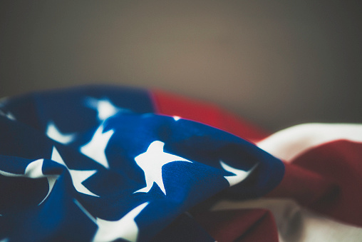 American Flag On Textured Background For Us Holidays Stock Photo - Download Image Now