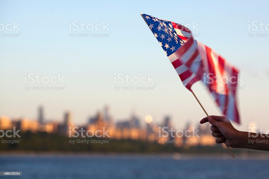 American flag on the Hudson River in New York City stock photo