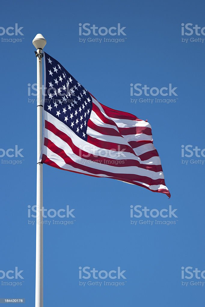 American flag on the mast stock photo