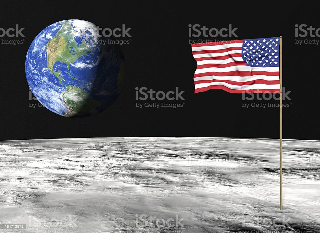 American flag on the moon stock photo
