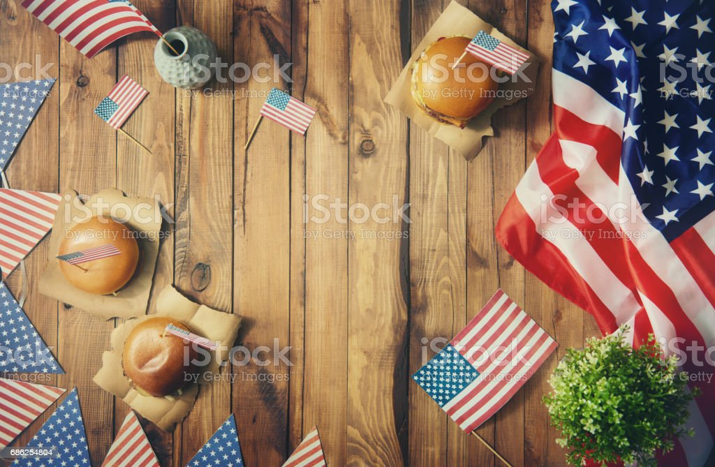 American flag on the table stock photo