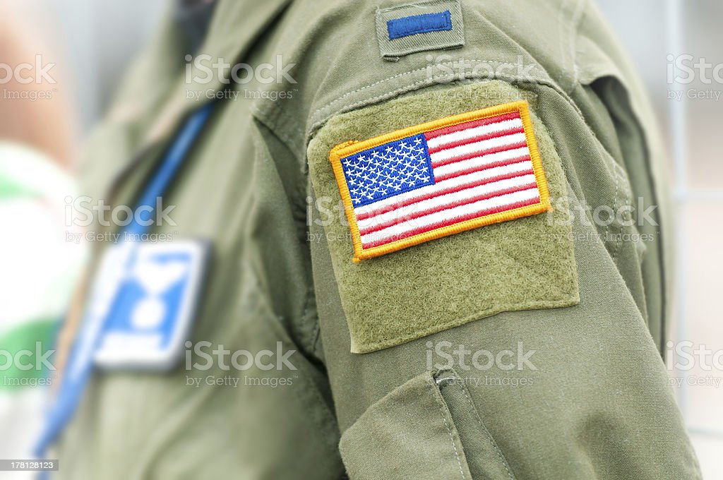 American flag on USAF uniform of person. stock photo