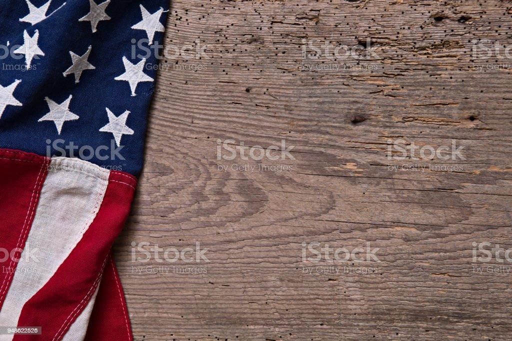 American Flag on Vintage Wood stock photo