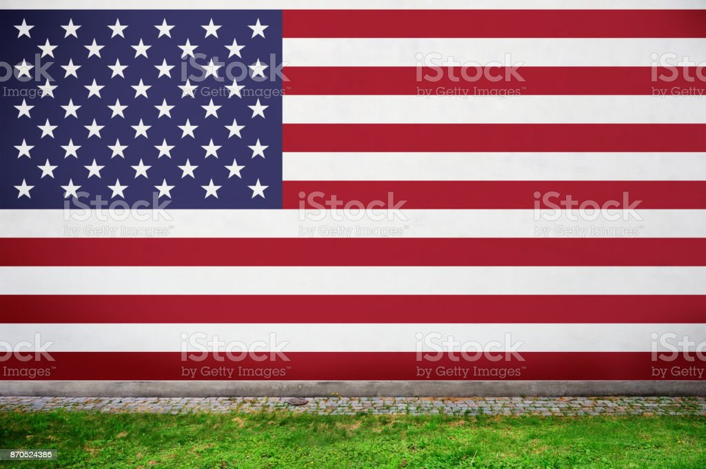 American flag on wall stock photo