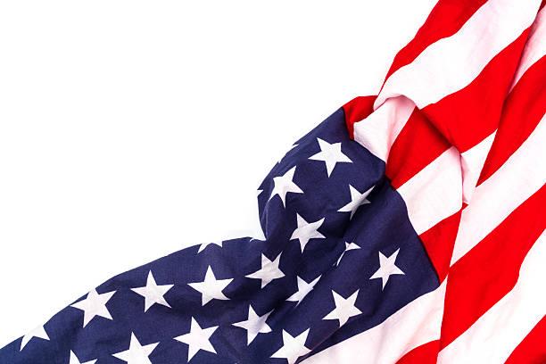 Amerikanische Flagge auf weißem Hintergrund – Foto