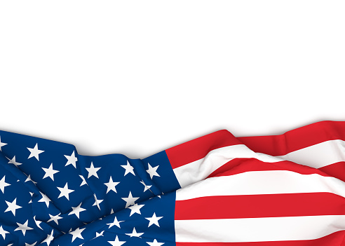 istock American flag on white background with copy space. 851871538