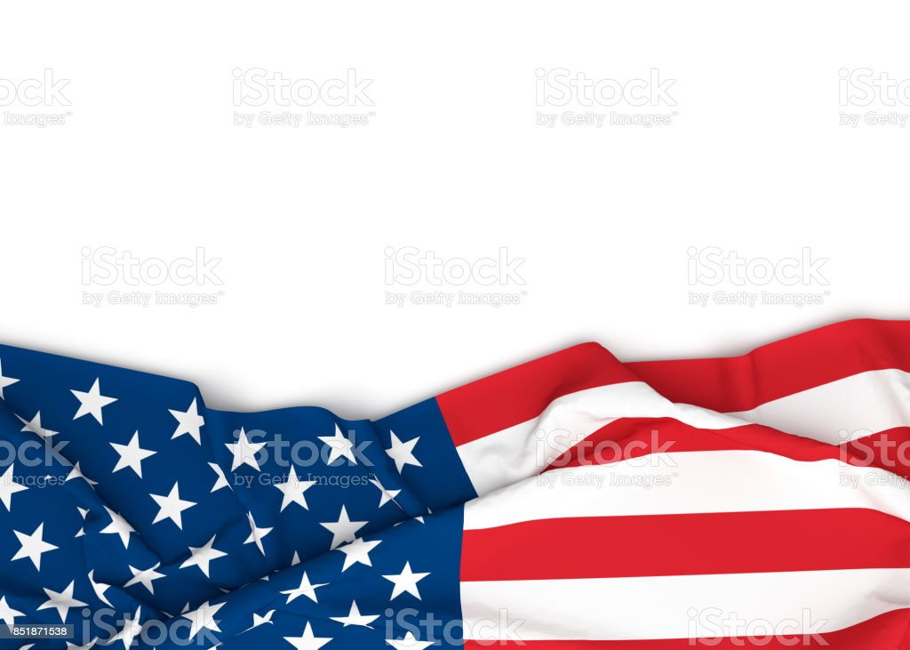 American flag on white background with copy space. stock photo