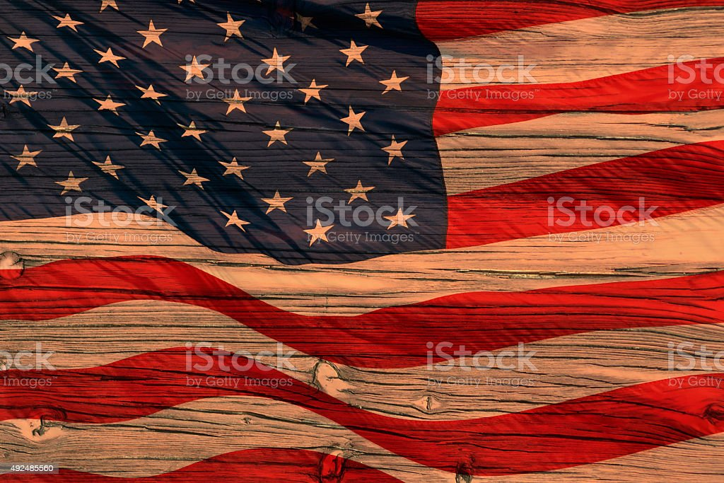 American flag on wood stock photo
