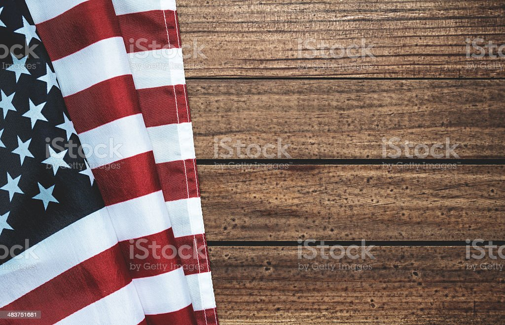 american flag on wood with copyspace royalty-free stock photo