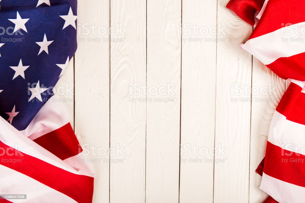 american flag on wooden background with copy space american flag on wooden background with copy space American Flag Stock Photo