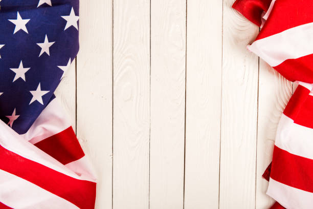 american flag on wooden background with copy space - july 4th stock pictures, royalty-free photos & images