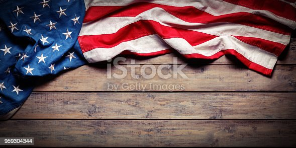 Aged Usa Flag On Wooden Plank