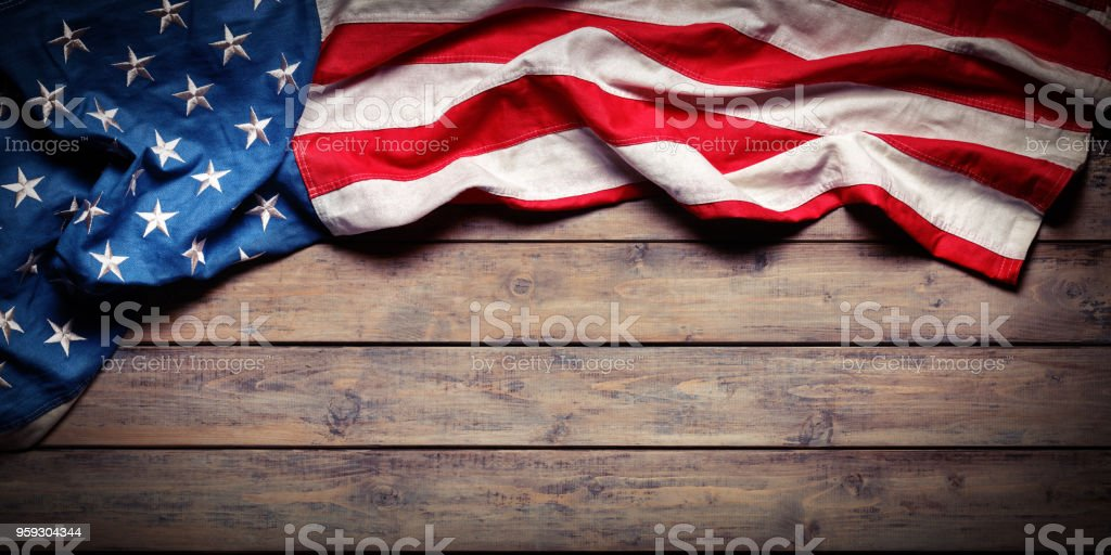 American Flag On Wooden Table - Independence Day - Grunge Textures stock photo