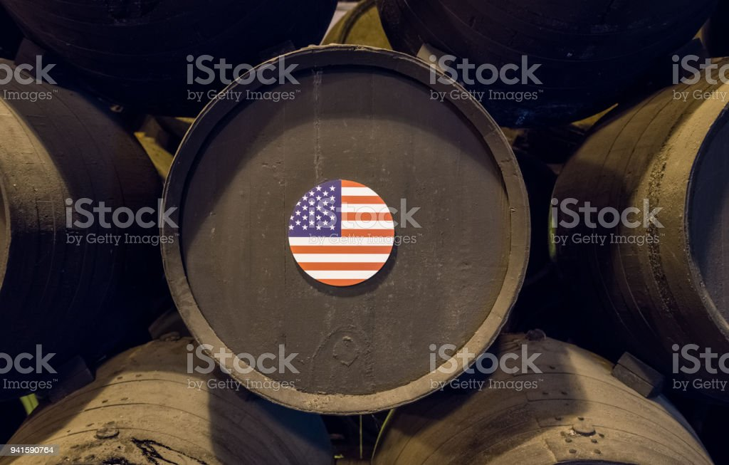 American flag on wooden wine barrels for sherry aging stock photo