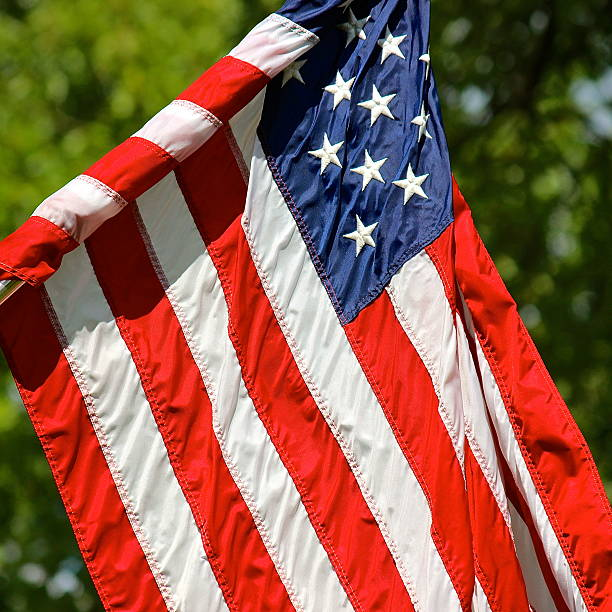 American flag outdoor view on sunny day stock photo