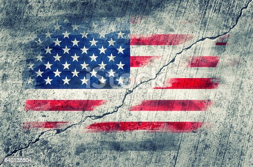 506166130 istock photo American flag painted on a wall 640138504