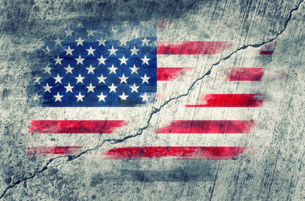 American flag painted on a wall stock photo