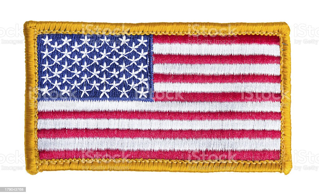 American flag patch isolated stock photo