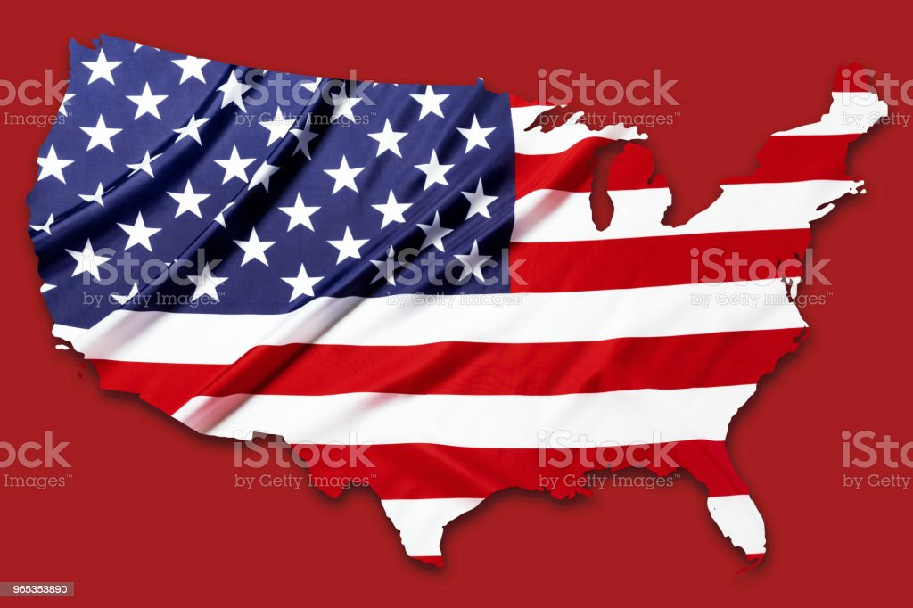 American flag pattern in country map shape on red  with clipping path zbiór zdjęć royalty-free