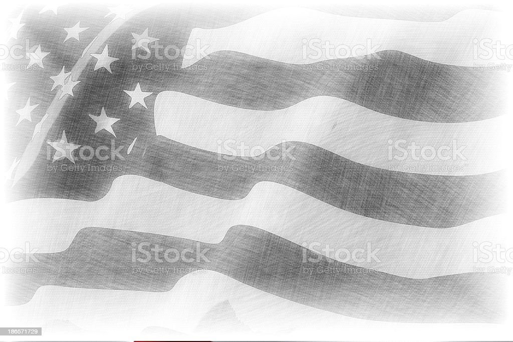 American flag pencil drawing stock photo