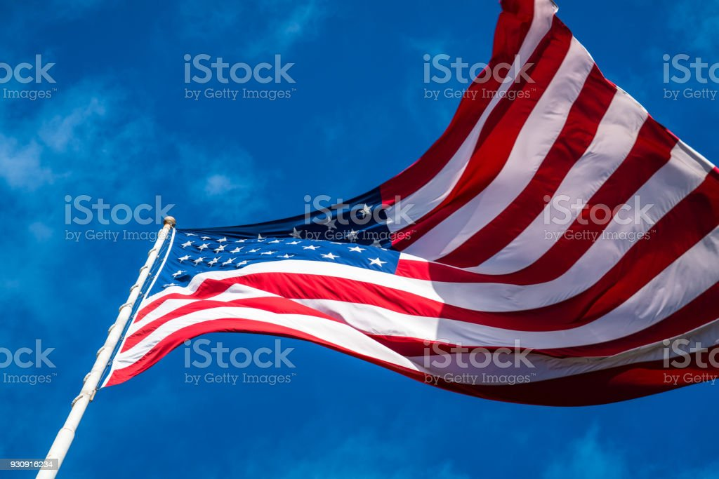 American Flag perfect low angle close up stock photo