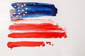 American flag painted on white background