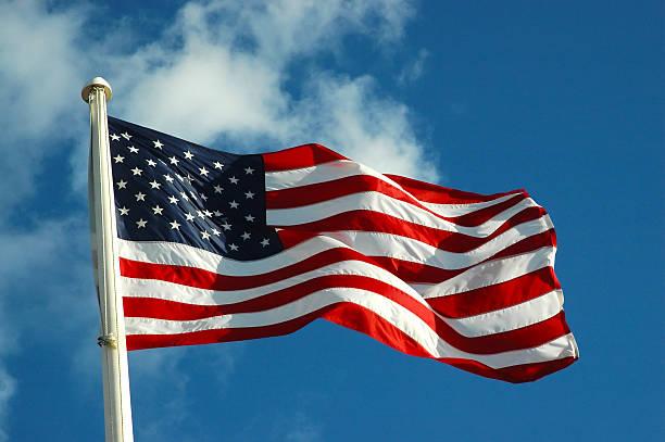 bandiera americana - sventolare la mano foto e immagini stock