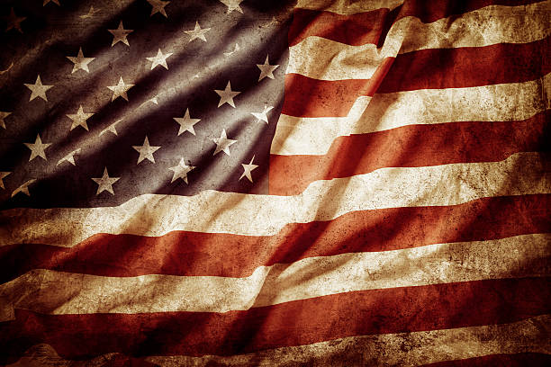 American flag Closeup of grunge American flag distressed american flag stock pictures, royalty-free photos & images